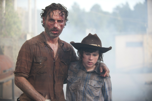 Carl and Rick Walking Dead