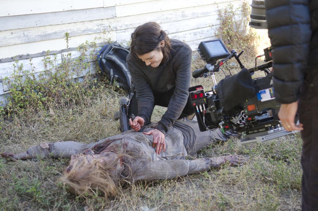 Maggie rips open a walker.