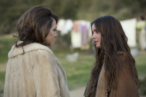 Despite their philosophical differences, you can tell they're mother and daughter just by their clothing choices. Photo credit Michael Yarish/AMC.