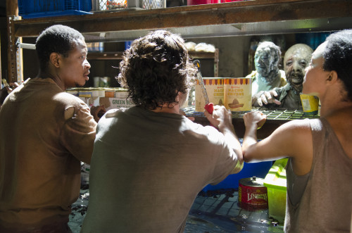 Olives, green beans, and nacho cheese: delicious and worth the slime. Photo credit Gene Page/AMC.